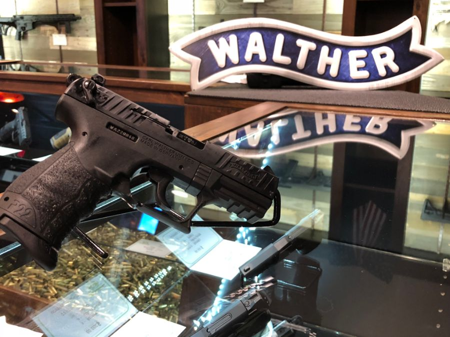 Close-up of Walther P22 at Timberline Firearms retail store