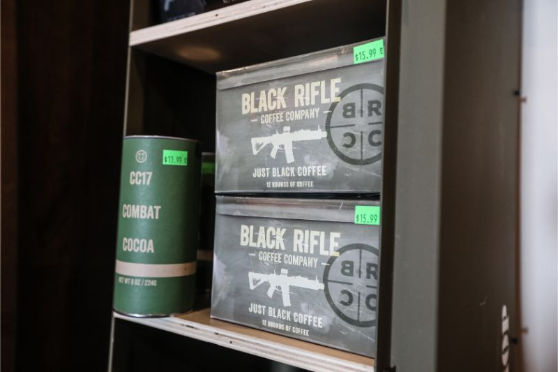 Bags of Black Rifle Coffee Company's coffee on shelf.