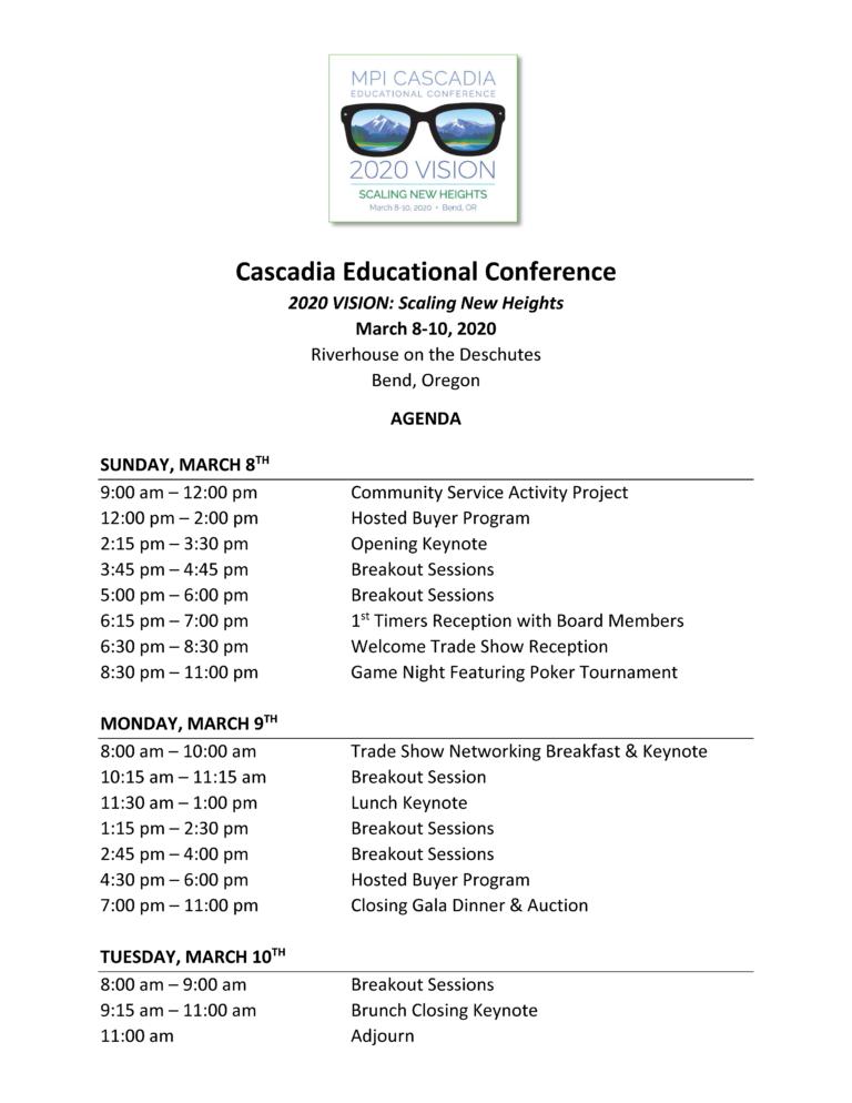 Cascadia Conference Agenda