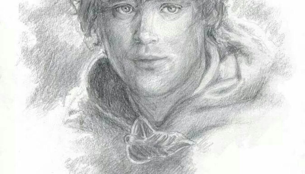 pencil drawing of a young man in a hoody