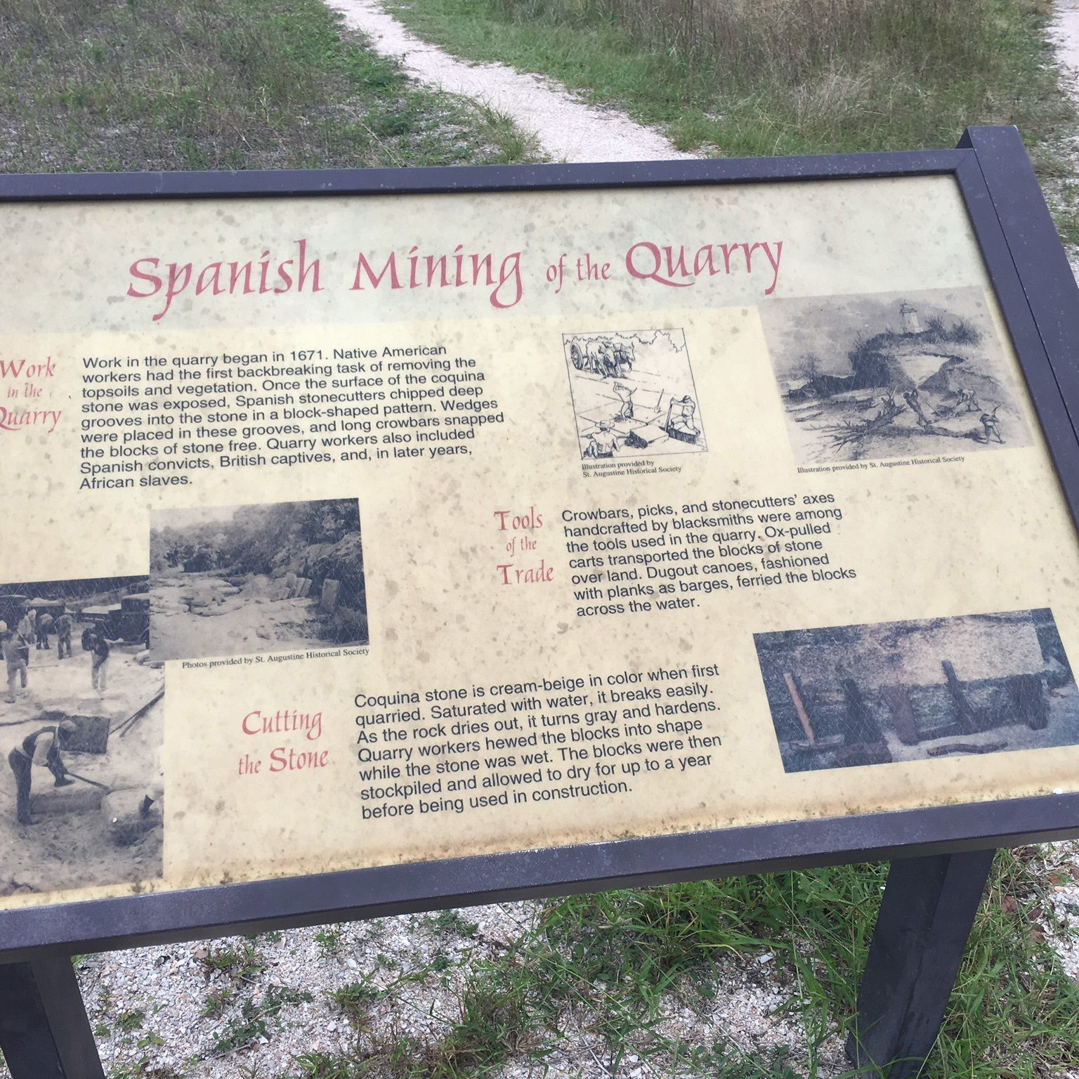 Old Spanish Quary Ansastasia State Park Sign