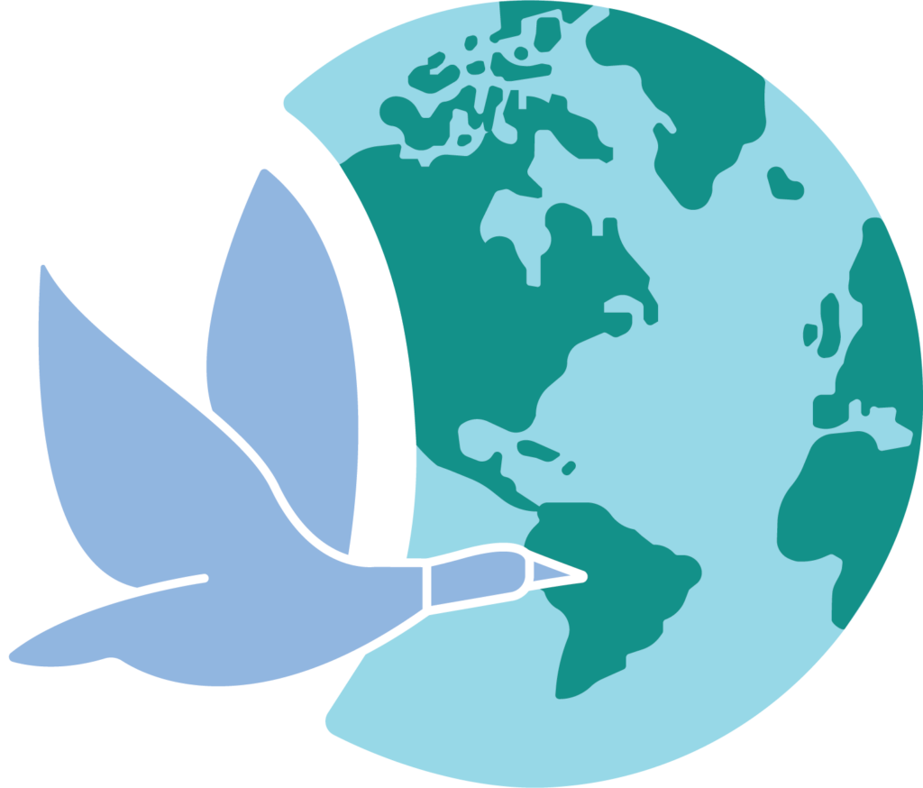 FFPS logo showing a Canadian Goose flying across the world.