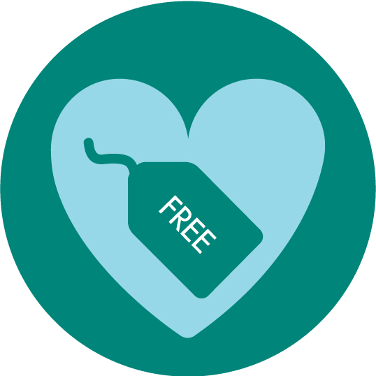 Icon showing a heart with a free price tag in it.