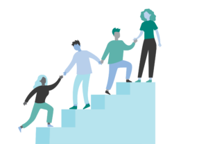 Illustration showing people helping each other up the stairs.