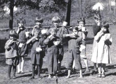 Tooth Brush Drill at Fresh Air Camp. August, 1923-