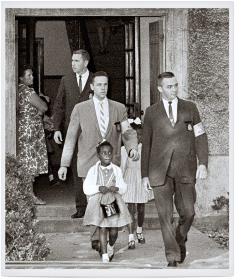 The McDonogh 3 – first graders Leona Tate, Gail Etienne, and Tessie Provost – escorted by U.S. Marshals Al Butler, Warren Emmerton, and Hershel Garner, November 14, 1960