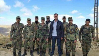 الأسد وعائلته في زيارة لأحد مواقع الجيش