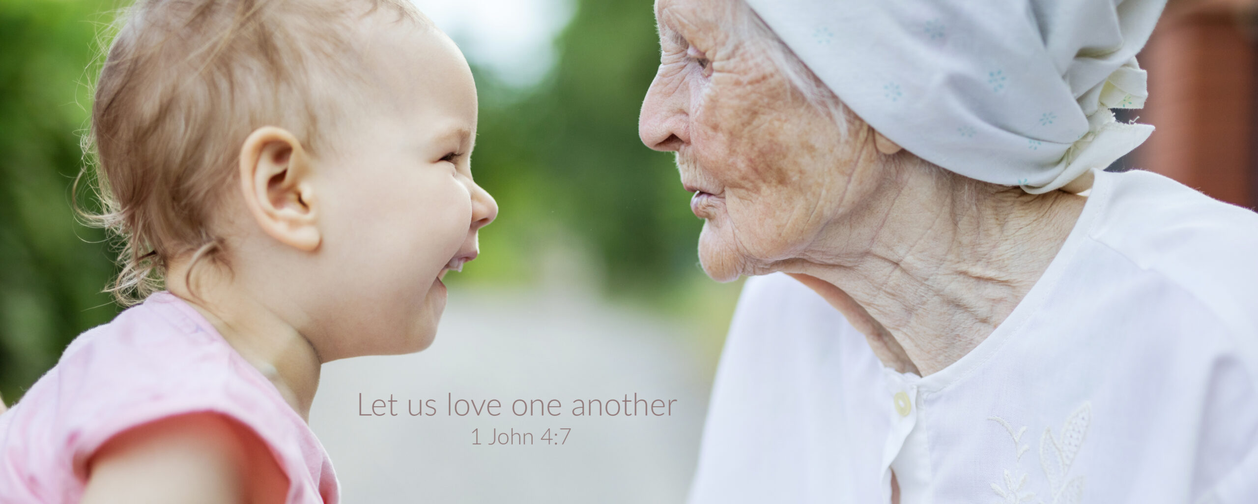 Grandmother and grandchild Looking at one another in a loving way