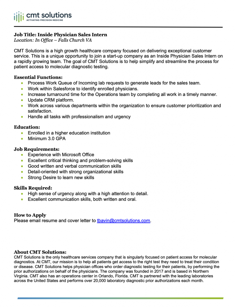 Sales Intern position job description - downloadable as a PDF