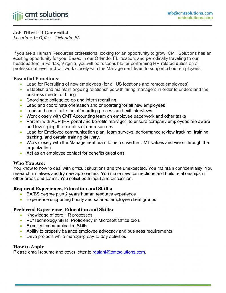HR Generalist job description