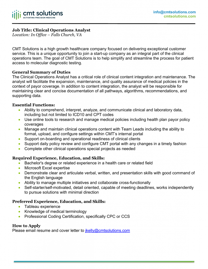 Clinical Operations Analyst