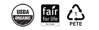 USDA Organic Badge, Fair For Life Badge, PETE Badge