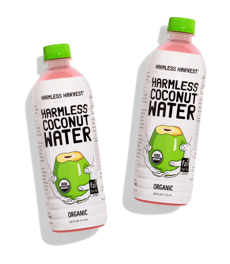 Two Harmless Harvest Coconut Water 16oz bottles