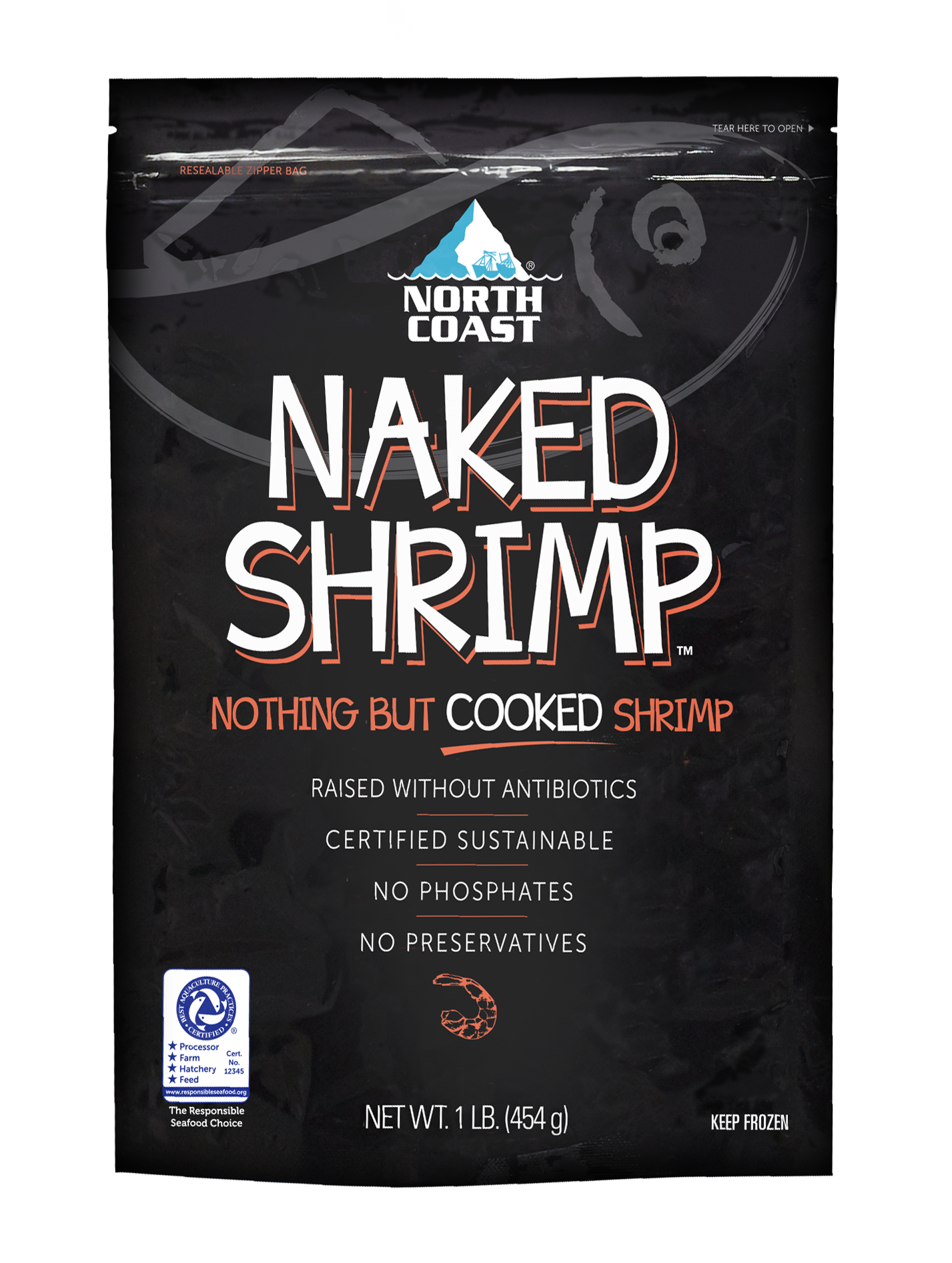 Cooked Naked Shrimp in one pound black bag.