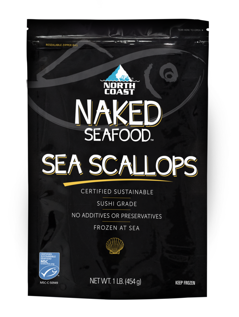 North Coast Naked Wild Atlantic Sea Scallops in one pound black retail bag.