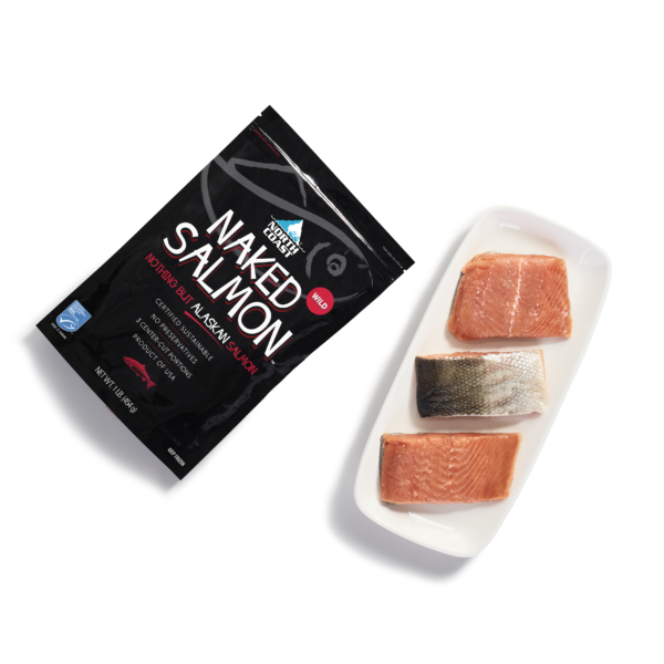 North Coast Naked Wild Alaskan Salmon one pound black retail bag and 3 5 ounce skin on wild salmon portions on a plate.