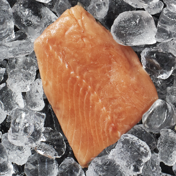 Fresh wild Alaskan salmon 5 ounce portion on a bed of ice.
