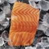 Fresh farm raised Norwegian 5 ounce salmon portion on a bed of ice.