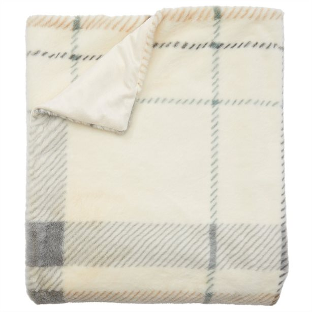 Bearly Plaid Bunny Faux Fur Throw Blanket, $59.50