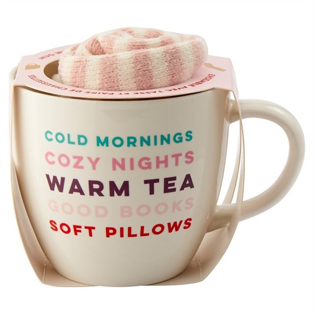 Cold Mornings Mugs and Socks Set, $18.00