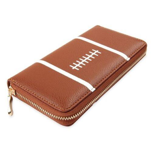Leather Football Zipper Wallet