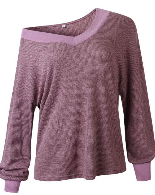 Purple V Neck Off Shoulder Loose Fit Top