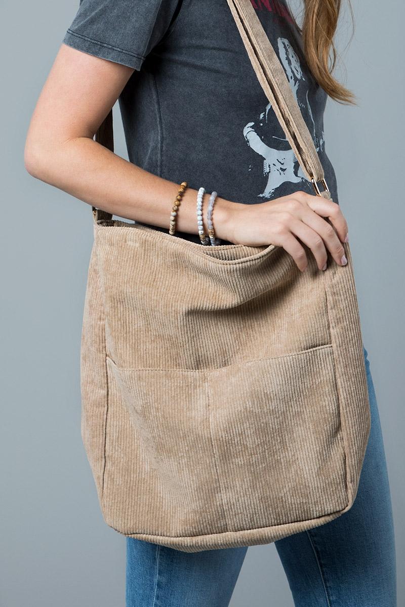 Beige Soft Corduroy With Pockets Cross Body Bag