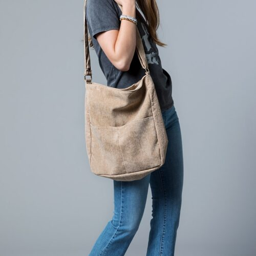 Beige Soft Corduroy With Pockets Cross Body Bag