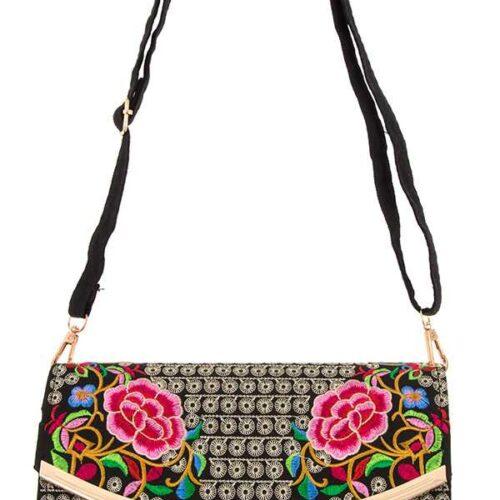 Embellished Ethnic Floral Metal Accent Bag