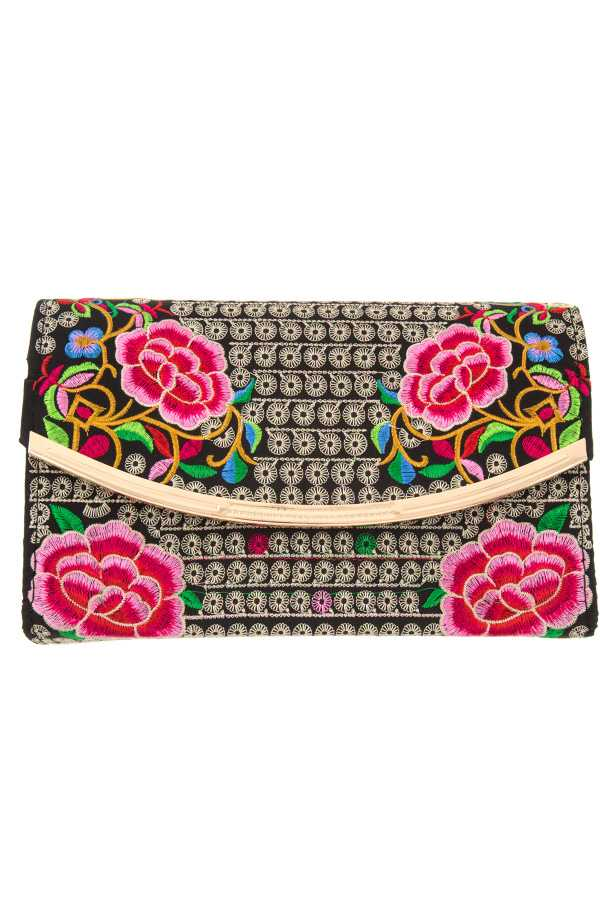Embellished Ethnic Floral Metal Accent Bag