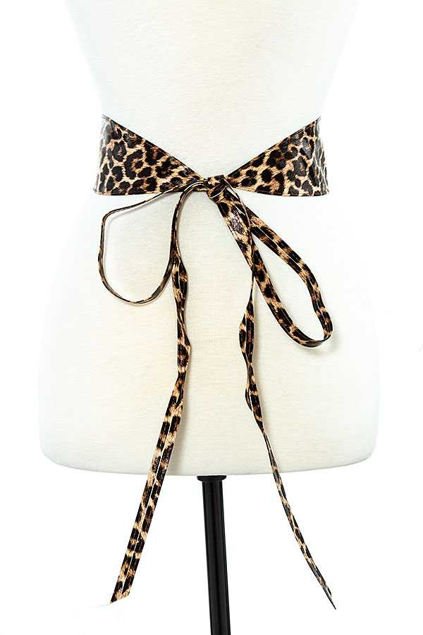 Leopard Print Faux Leather Waist Belt