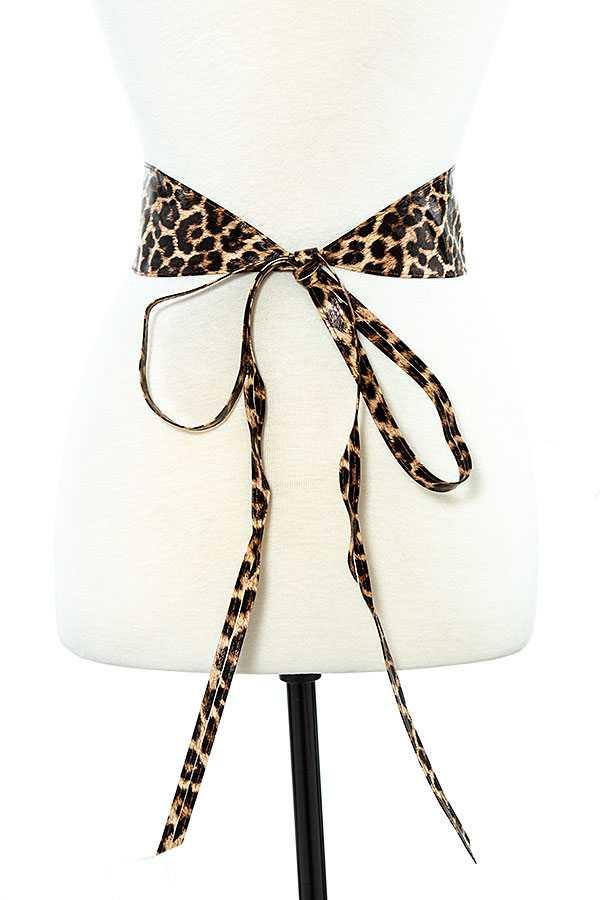 Leopard Print Faux Leather Waist Belt