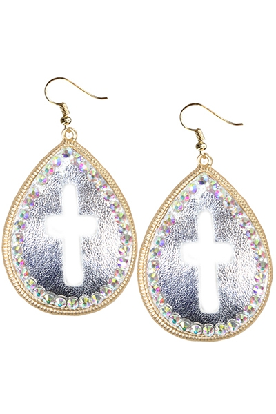 Silver Leather Center With Cross Outline AB Crystals Fish Hook Earrings