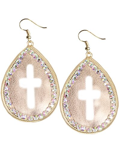 Gold Leather Center With Cross Outline AB Crystals Fish Hook Earrings