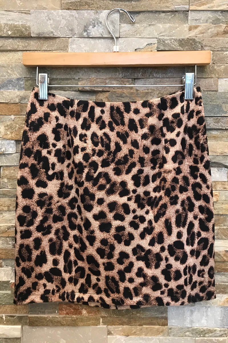 Leopard Skirt With Zipper Back