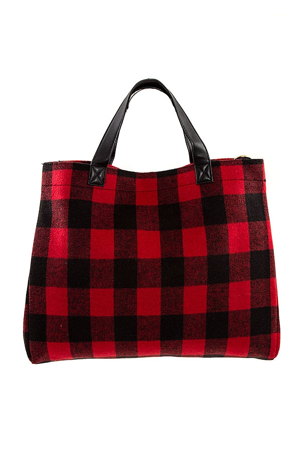 Red Plaid Pattern Tote Bag