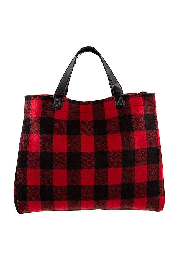Red Plaid Pattern Tote Bag