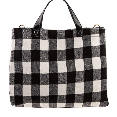 Black Plaid Pattern Tote Bag