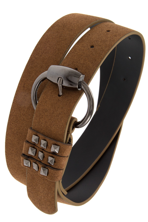Camel Studded Accent Faux Suede Belt