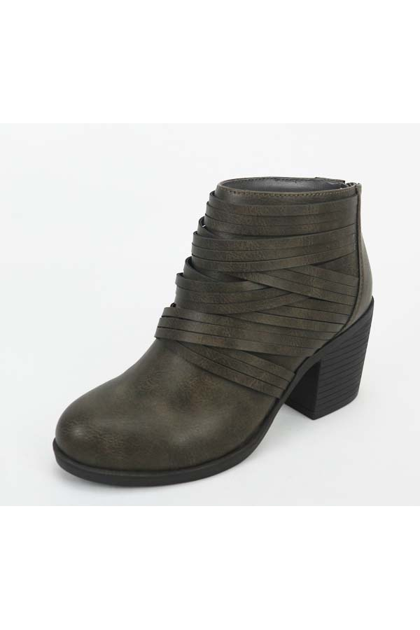 Grey Camel Strap Detailed Casual Booties