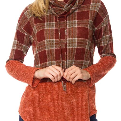 Plaid Print Cowl Neck Knit Sweater Top