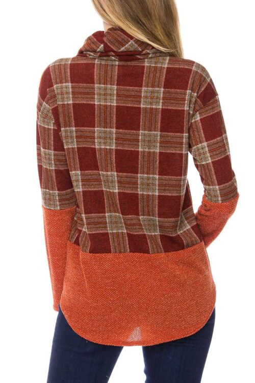 Plaid Print Cowl Neck Knit Sweater Top