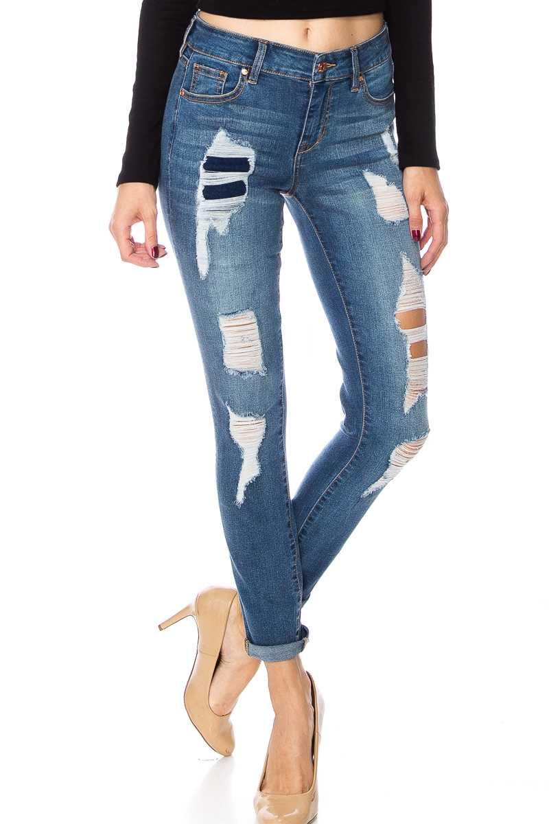 Mid Rise Distressed Folded Hem Skinny Jeans