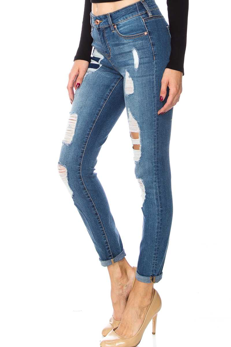 Mid Rise Distressed Folded Hem Skinny Jeans