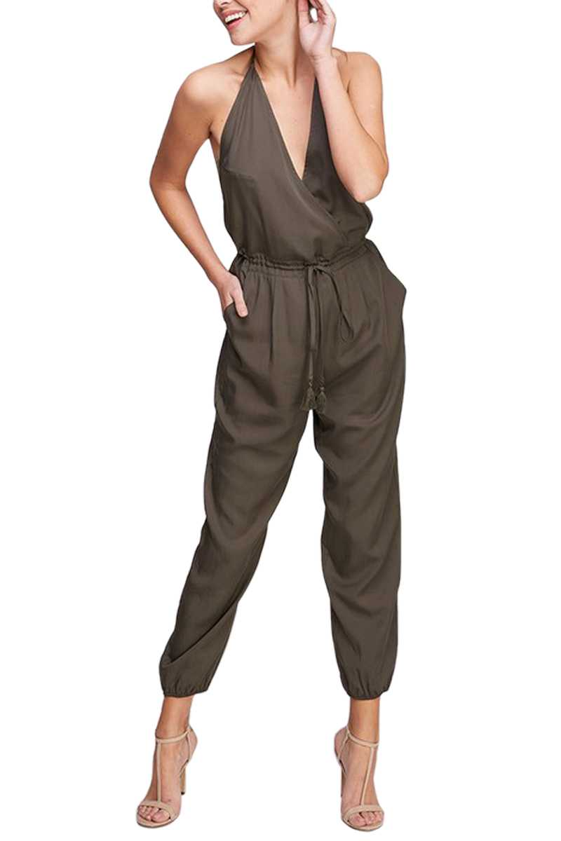Open Back V Neck Jumpsuit Front