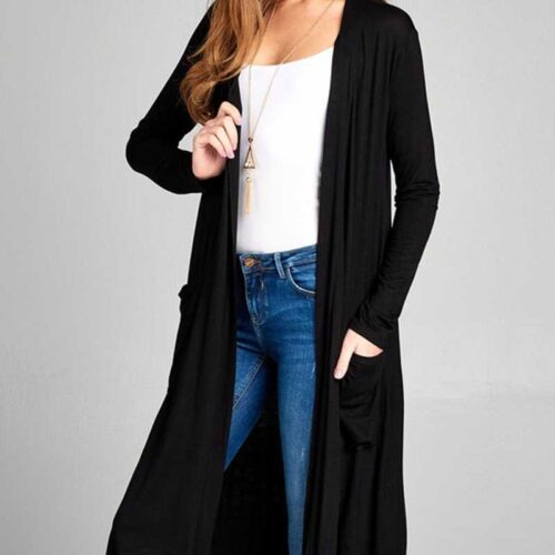 Black Long Sleeve Open Front Midi Cardigan With Pockets