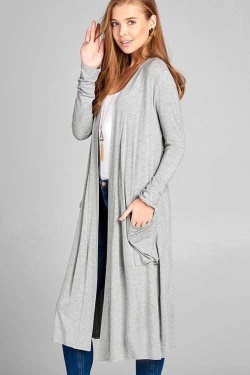 H Grey Long Sleeve Open Front Midi Cardigan With Pockets