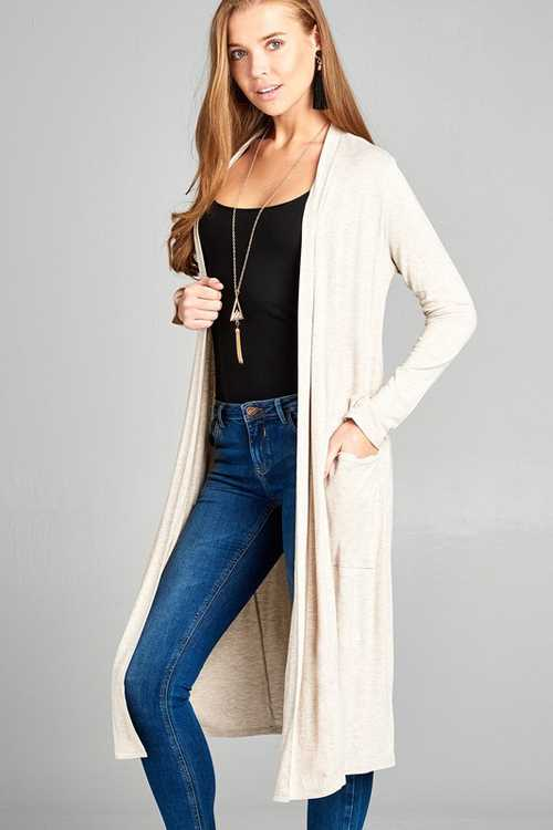 Oatmeal Long Sleeve Open Front Midi Cardigan With Pockets