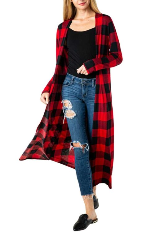 Red Plaid Checker Print Long-body Cardigan Front