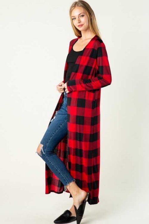 Red Plaid Checker Print Long-body Cardigan Side